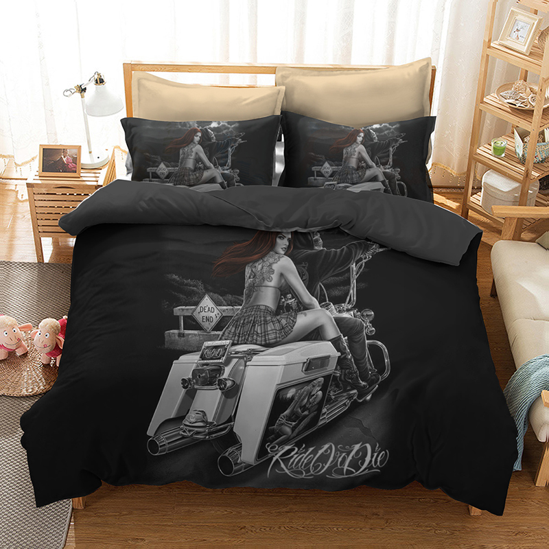 3d kit Skeleton Bedding Beauty Motorcycle American size childrens home spinning wool polyester fiber no bed  linen comfortable