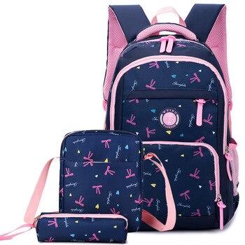 2a82aa90bd4d2 Çocuk baskı sırt çantası Okul çantaları seti Kız Okul Çantaları Su Geçirmez Sırt  Çantaları Çocuklar Satchel Okul Çantaları mochila escolar