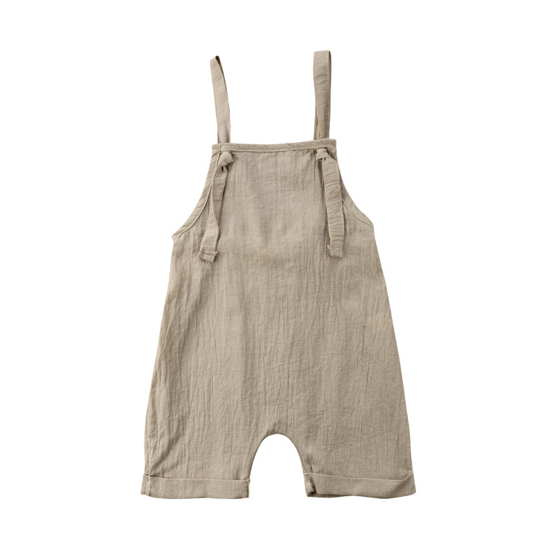 Pudcoco Baby Boys Girls Fashion Romper Sleeveless Khaki Color Romper 0-3Y одежда на маленьких мальчиков