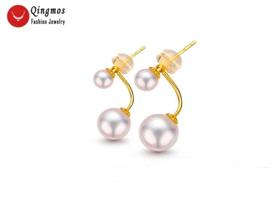Qingmos AAA White 6 8mm Round Natural Pearl Double Front Back Earrings for Women & Solid Gold Ear Stud Fine Jewelry Aretes 694