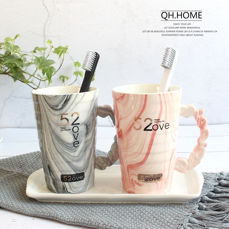 Creative Toothbrush Holder Cup Wash Gargle Suit Cup Toothpaste Storage Box Luxury Printing Ceramic Material Wash Cup 25