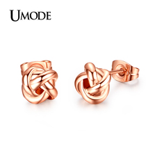 UMODE Lovely 18K Rose Gold / White Plated Fashion Knot Stud Earrings Jewelry For Women Christmas Gift Bijoux AJE0140