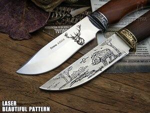 Image 4 - Couteau de chasse tactique rétro, petits couteaux fixes, tête en cuivre + manche en bois massif, couteau de survie, couteau de sauvetage portatif, de Camping