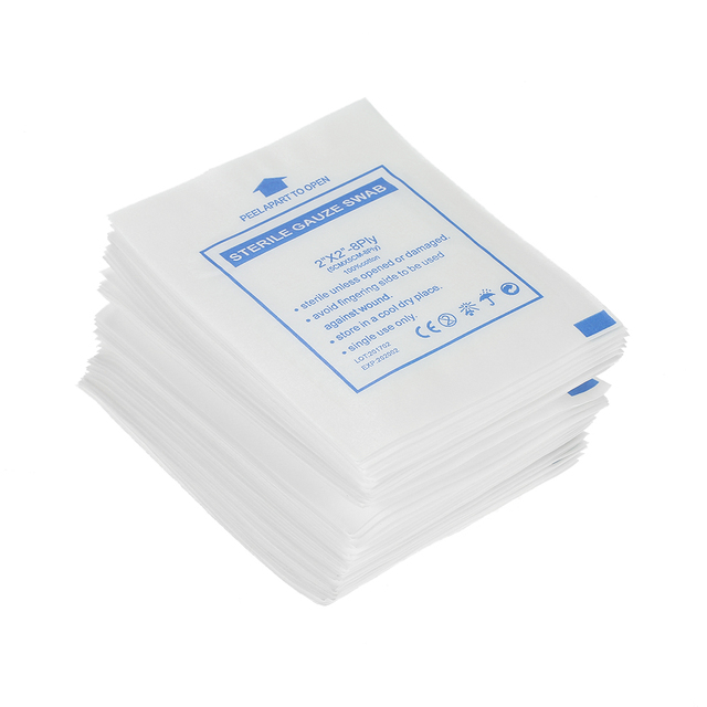 Carevas 50pcs Wound Dressing Gauze Pads First Aid 5cm5cm Non Stick