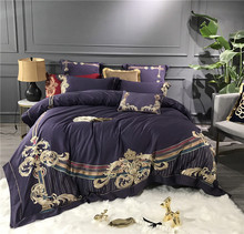 Luxury Purple Blue Green White 80S Egyptian Cotton Gold Embroidery European Palace Bedding Set Duvet Cover Bed sheet Pillowcase