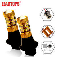 LEADTOPS 2pcs Front Turn Signal Brake Lights Source 54 SMDS T20 LED 1156 12V 4014 Chip Car LED Dual-Color DRL Signaling Lamp CJ