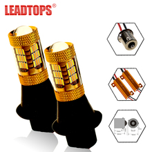 LEADTOPS 2pcs Front Turn Signal Brake Lights Source 54 SMDS T20 LED 1156 12V 4014 Chip Car Dual-Color DRL Signaling Lamp CJ