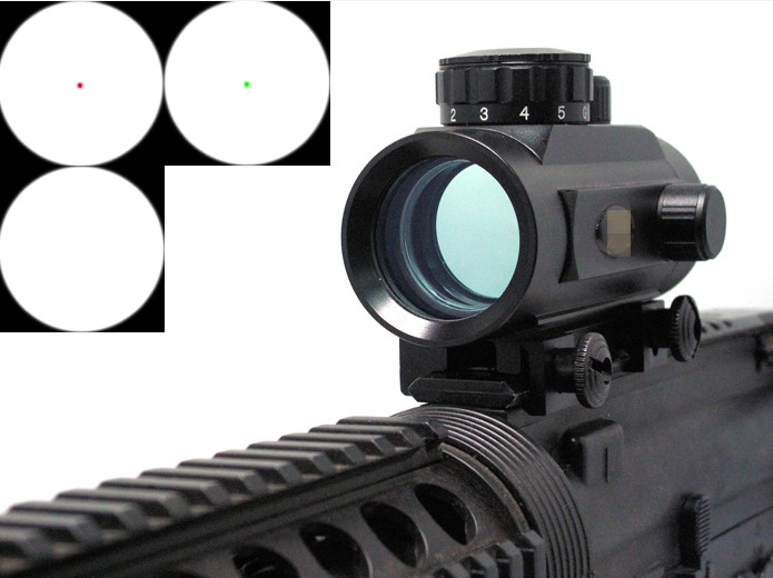 =Tactical 1x30 Red Green Dot Sight Scope Air soft Red dot sight w/20mm Weaver Mounts for Sniper weapon Gun