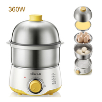 D,Home Egg Boilers Double Stainless Steel Electric Egg Cooker Kitchen Cooking Appliances Steamer 30 Mins Knob Timing A07U1