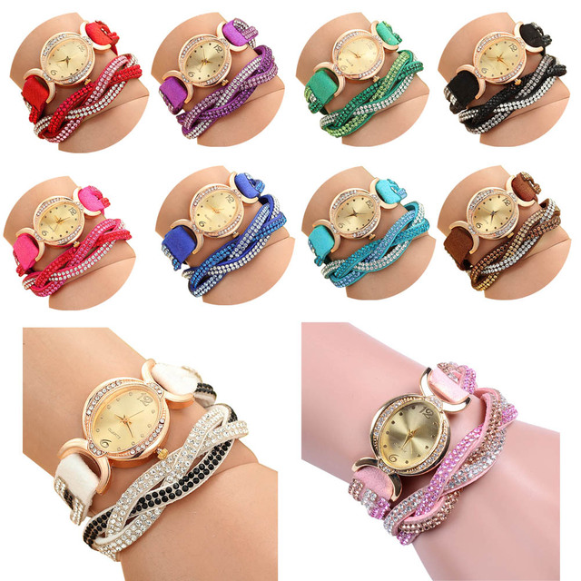 Candy Color Fashion Rhinestone Winding Belt PU Leather Weave Bracelet Watch Sout