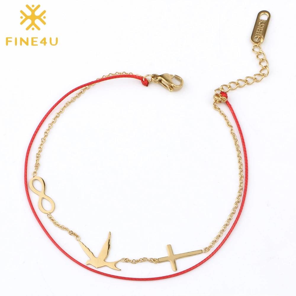 Double rope chain infinity bracelet