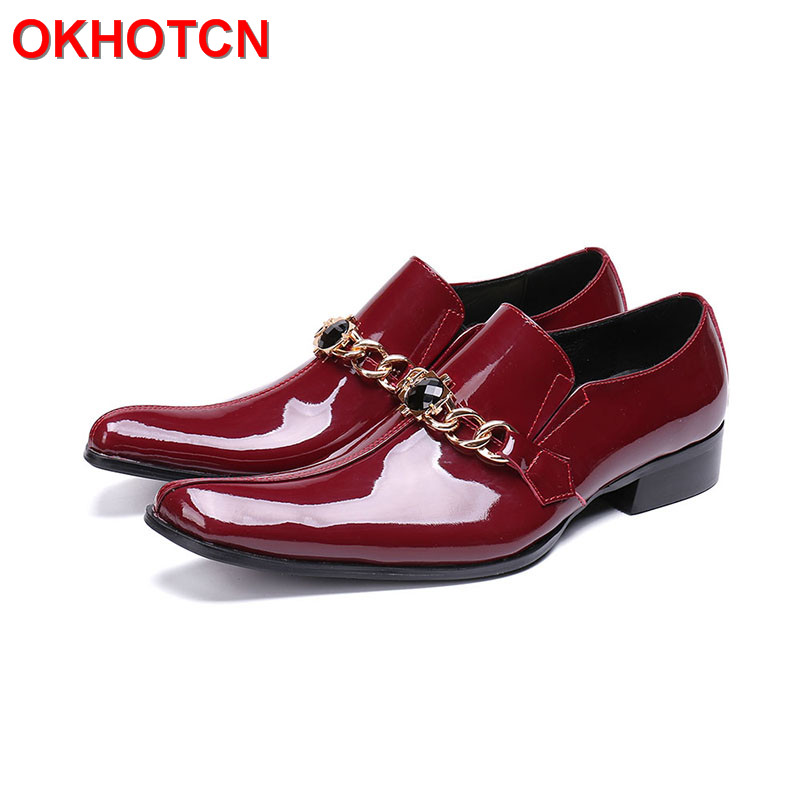 Solid Patent Leather Shoes Men Square Toe Crystal Formal Shoes Men Fashion Metal Hoops Red Black Mens Dress Shoes Plus Size 47 pointed metal toe mens shoes formal design patchwork men leather shoes with crystal hoops spring autumn sapato masculino social