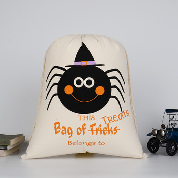 5Pcs/Lot High qualiy Personalized Halloween Decoration Canvas Cotton Drawstring Bags Home Shopping Gift With Hand 48cmx36cm