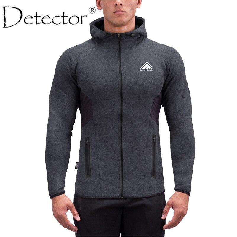 Детектор мужские Куртки Фитнес дышащая толстовка с капюшоном на молнии Slim Fit пуловер Толстовки тренажерный зал Спортивная