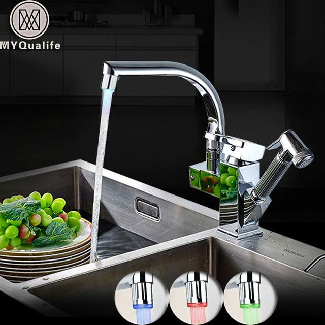 LED Light Kitchen Faucet Mixer Tap Single Handle Two Swivel Spouts Kitchen Hot Cold Water Tap Pull Out Flushing Spray Tap