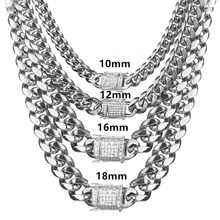 8/10/12/14/16/18mm 7-40 Fashion CZ Stainless Steel Silver Miami Cuban Curb Chain Men Women Jewelry Necklace Or Bracelet Bangle