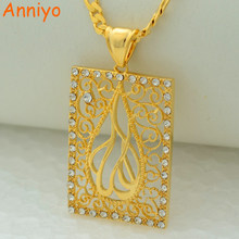 Anniyo High-quality Islamic pendant necklace allah items arabic jewelry women Girl gold color middle east muslims(China)