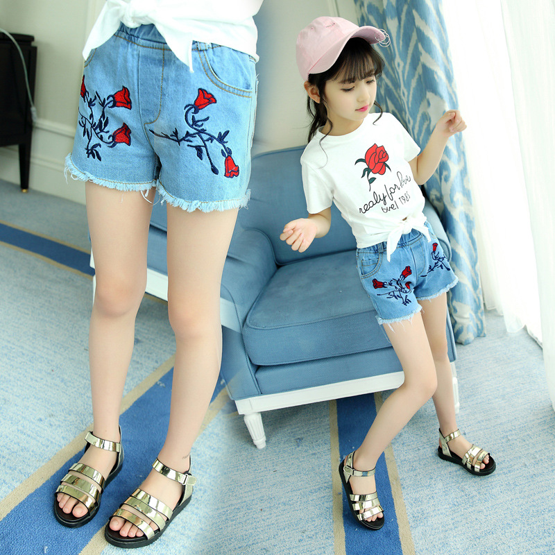2018 Summer Style Kids Girls Jeans Shorts Little Big Girls Denim Shorts Flower Jeans Shorts for Girl Children Shorts Jeans Pants summer women fashion high waist embroidery flower denim tassel jeans shorts female floral shorts jeans for women dx8299