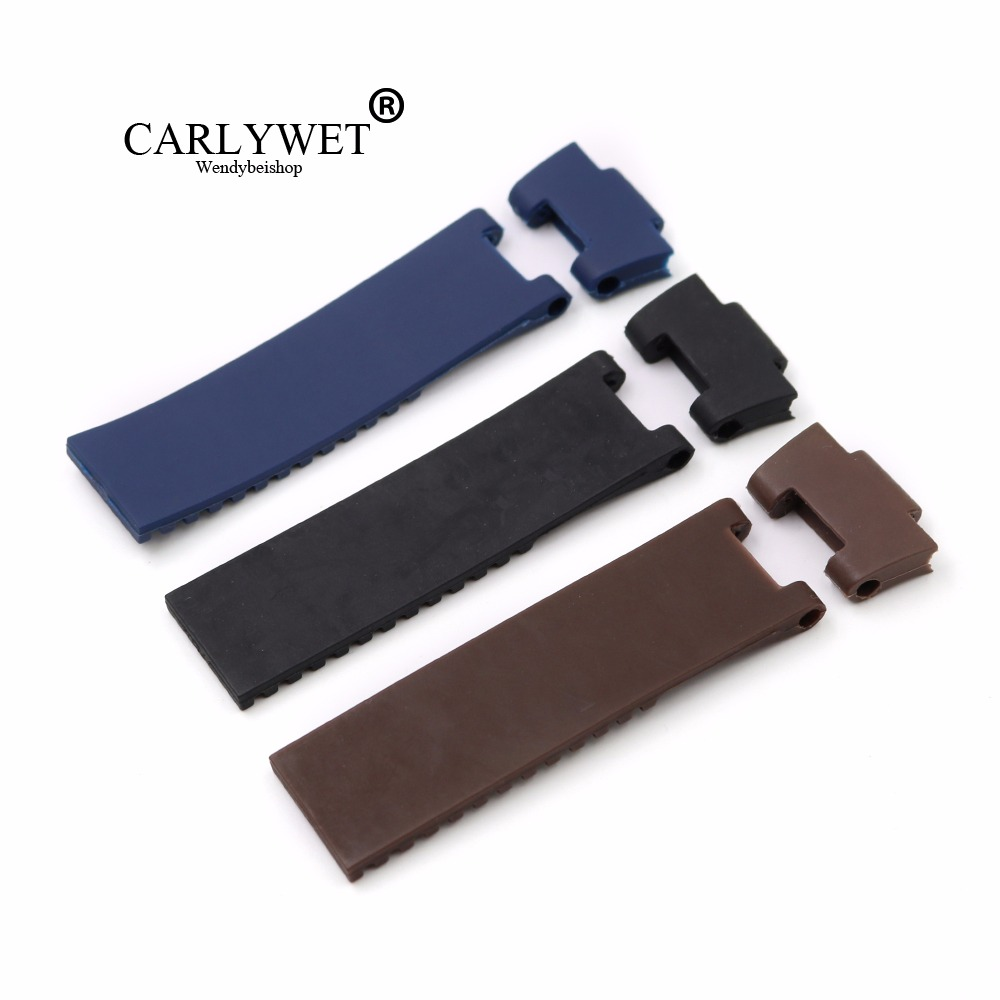 CARLYWET 25*12mm Black Brown Blue Waterproof Silicone Rubber Replacement Wrist Watch Band Strap Belt For Ulysse Nardin