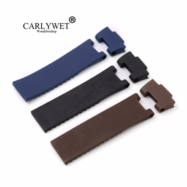 CARLYWET 25*12mm Black Brown Blue Waterproof Silicone Rubber Replacement Wrist W