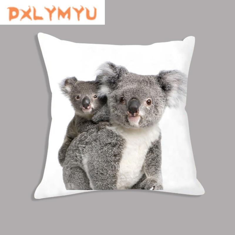 Plush Pillow Cute Koala Throw Pillow Decorative Cushion for Sofa Car Home Decor 45cm x 45cm Animals Velvet Pillowcase in Cushion from Home Garden