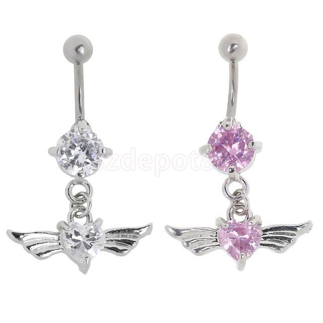 Thời trang Phụ Nữ Cô Gái Long Lanh Tình Yêu Wings Pha Lê Belly Button Bar Nhẫn Thép Không Gỉ Navel Dangle Body Piercing Trang Sức