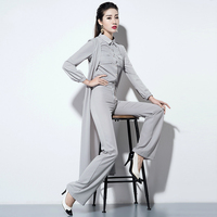 Set Three piece Gray Long sleeved Shirt Long Vest Cardigan Spring Sweat Suits Women Womens 3 Piece Sets 2018 Womens Clothing