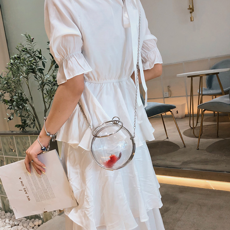 2019 Circular Clear Shoulder Bags for Women  ice Cream Bell Round Handbag Female Tote Fish Tank Women Crossbody Messenger Bags(China)