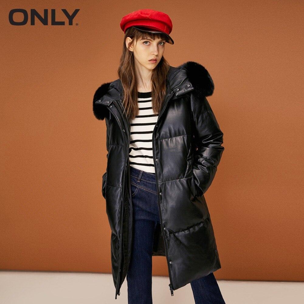 女性だけのキツネの毛皮の襟フード付きダウン革ジャケット  118328506  グループ上の レディース衣服 からの レザー & スエード の中 1