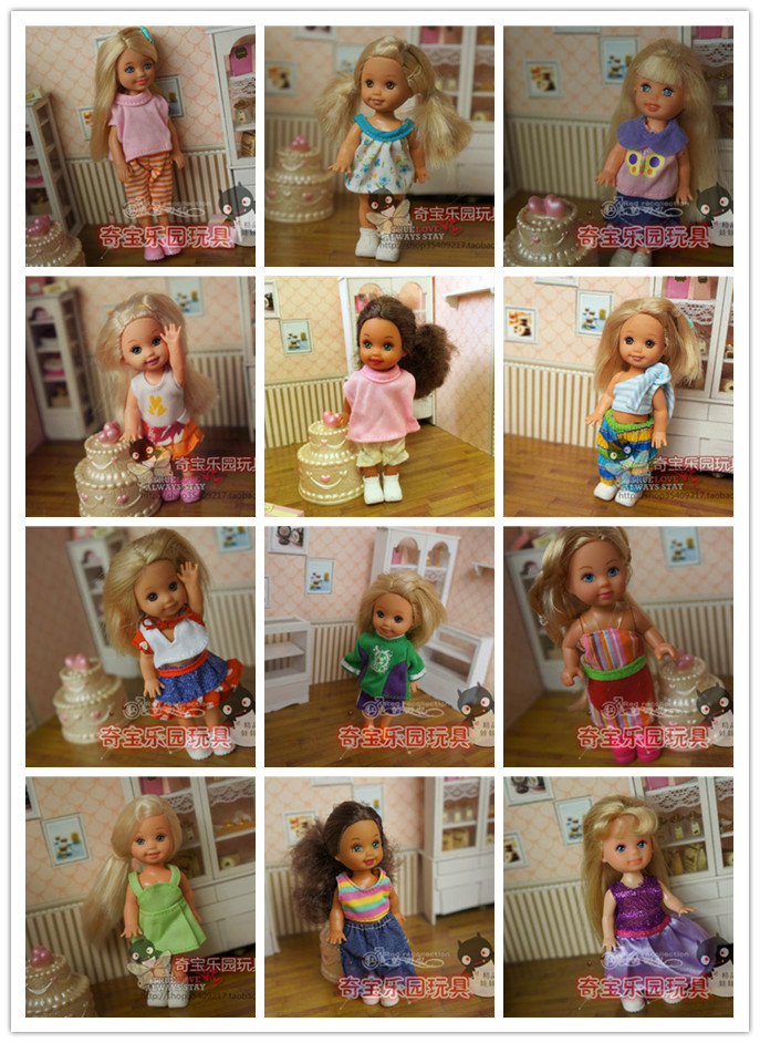 Small Kelly for Barbie doll 10 sets of clothes, dress and suits small Kaili Ba Barbie Doll Toy small girl doll kiniki kelly tanga mens