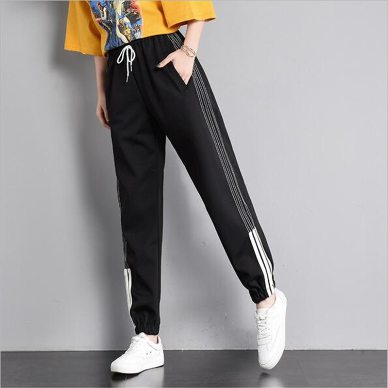 2018 summer fashion women's casual large size trousers elastic waist three bars high waist solid color beam foot harem pants