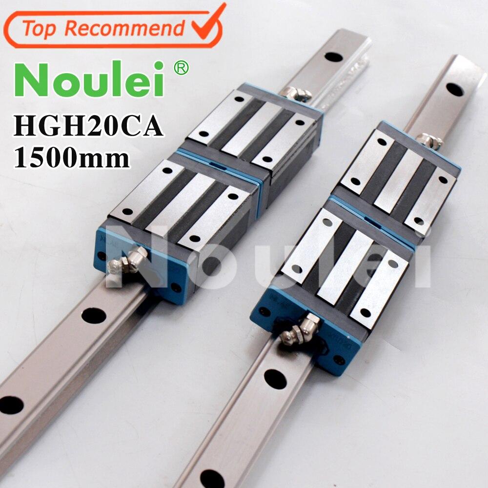 Noulei 2 pcs 20mm CNC Linéaire Rail de Guidage HGR20 1500mm + 4 pcs HGH20CA transport Guidages HGH20