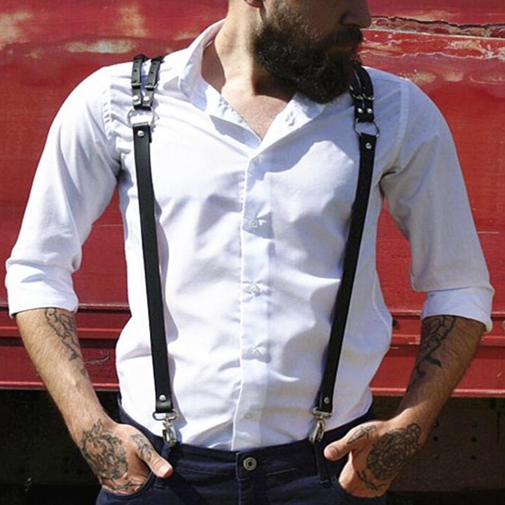 Suspenders For Men Leather  Elastic Shirt Y Back Mens Fashion Suspenders Pant Braces Women Shirt Decoration Unisex With 3 Hooks