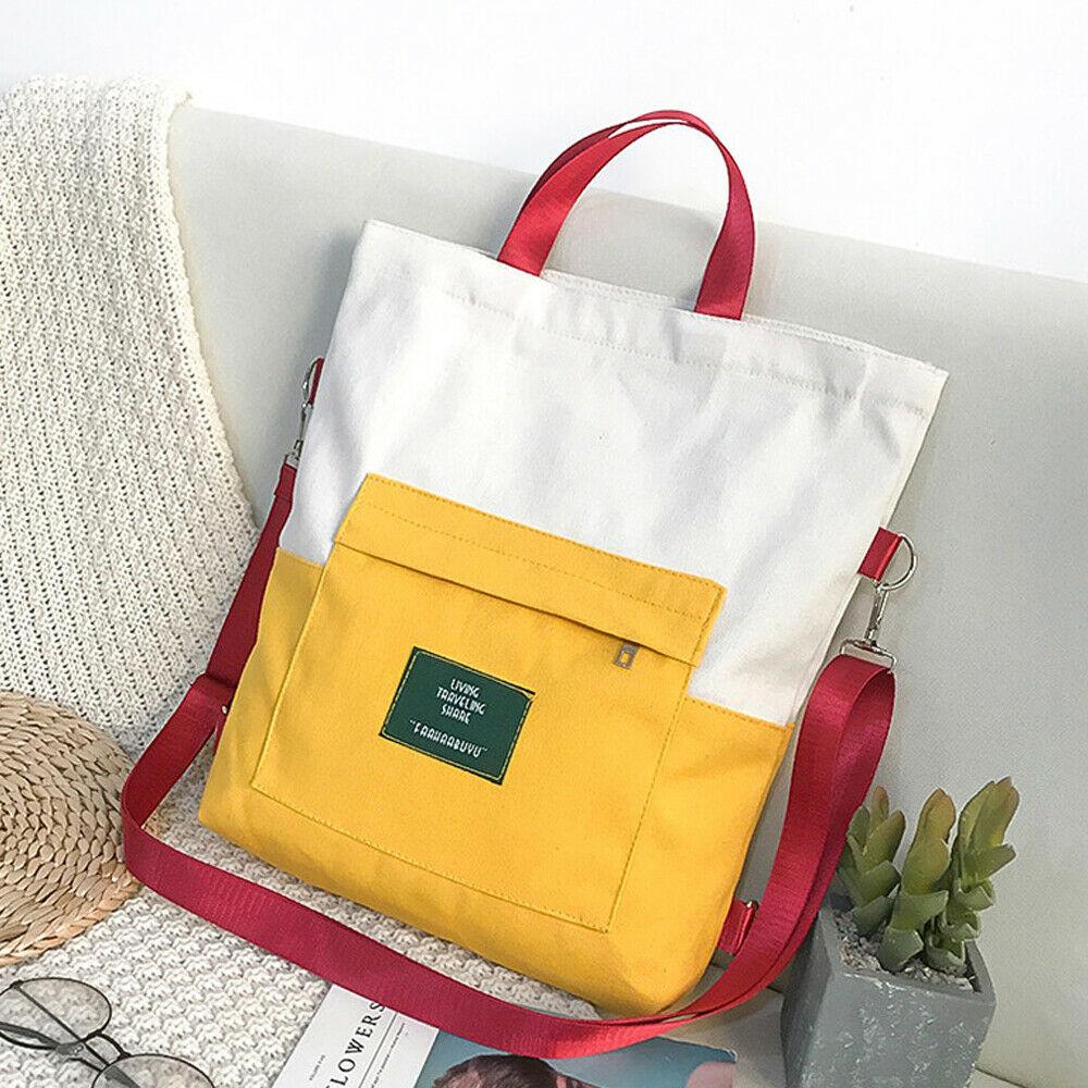 2019 New Women's Canvas Student School Handbag Shoulder Cute Messenger Bag Satchel Tote Purse Bags For Girls