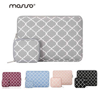 Mosiso Fashion Black Quatrefoil Canvas Fabric Laptop Notebook Computer Laptop Sleeve Case Cover