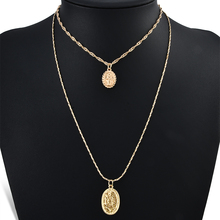 2pcs/set Trendy Religious Style Multi Chain Pendants Necklace Gold Vintage Virgin Mary for Women Pendant & Necklace Fashion round pendant chain necklace set 2pcs