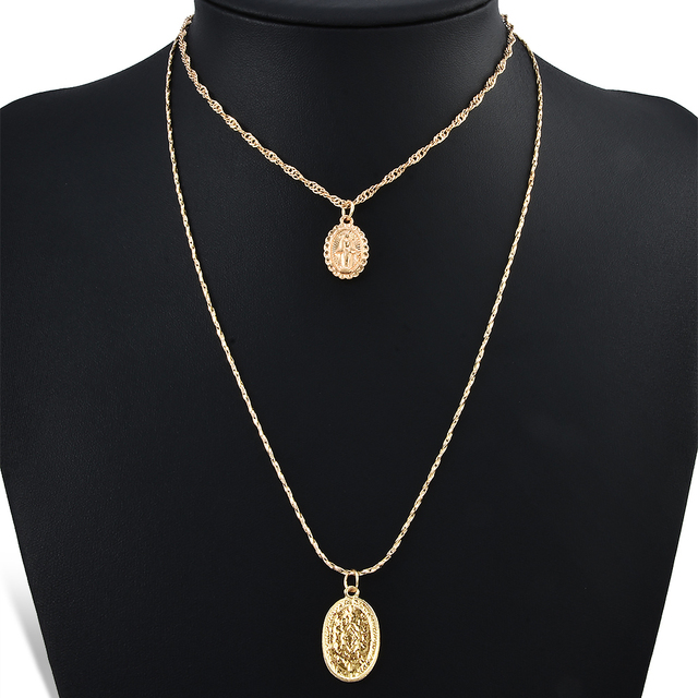 2pcs/set Trendy Religious Style Multi Chain Pendants Necklace Gold Vintage Virgi