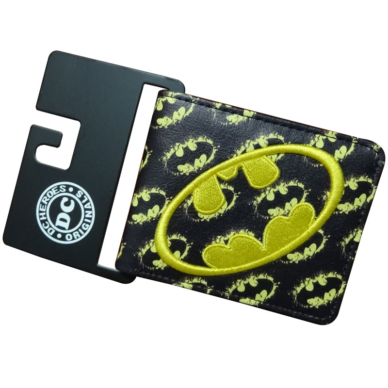 Marvel Comics carteira Wallets Cartoon Anime Batman Hero Purse Embroidery LOGO Gift Money Bags for Young Men Short Wallet брелок dc comics batman logo