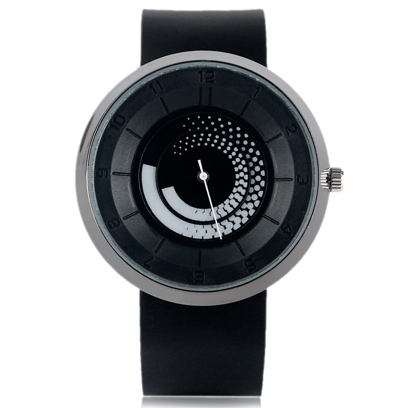 Simple Rubber Strap Turntable Quartz Wrist Watch Round Dial Men Women Brief Spiral Casual Student Rotation Fashion Creative special design turntable dial leather band strap all black men wrist watch modern simple fashion quartz watches