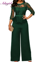 Adogirl women summer jumpsuit O Neck Half S Wide Leg Pants Bodysuit Lace Patchwork Bodycon Rompers Womens Overalls