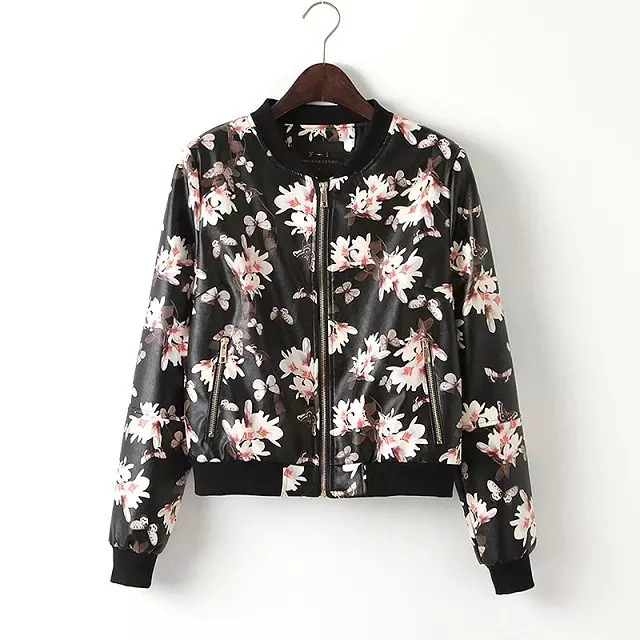 2015 Women New Fashion Floral Print Faux Leather Jacket Zippers ...