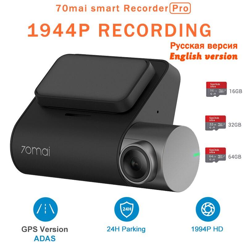 Xiaomi 70mai Pro IMX335 140 Graus FOV Smart Auto Traço Cam 1944 P HD DVR Carro Câmera de Controle de Voz 24 H Desembaçamento ADAS Monitor de Estacionamento