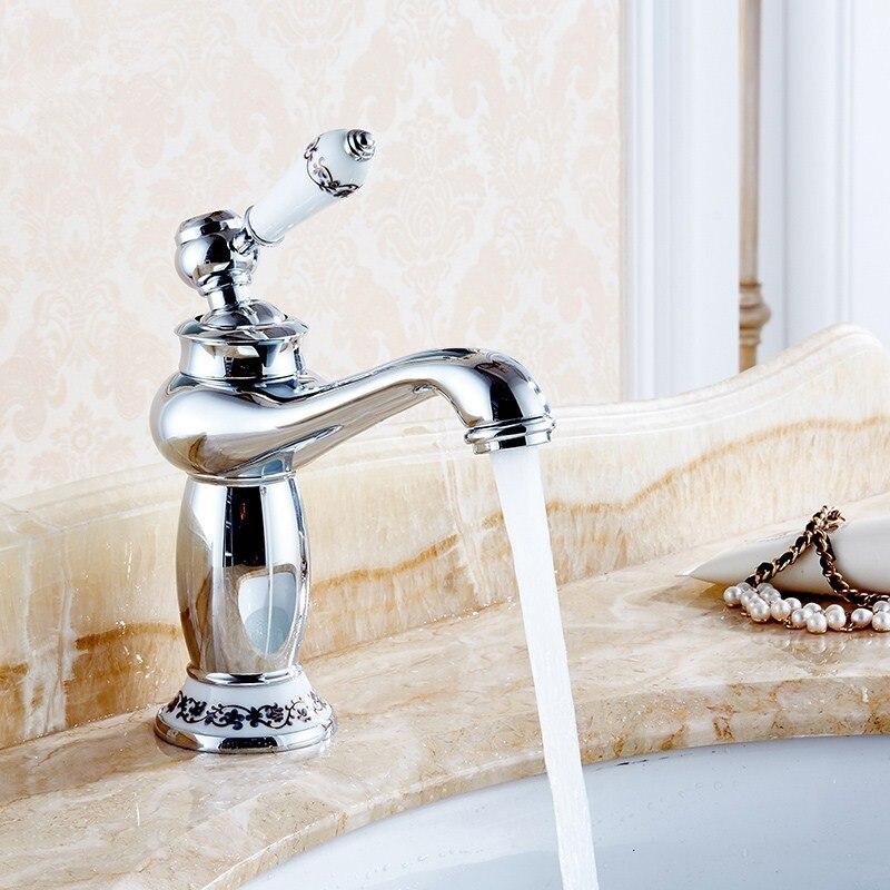 Высококлассные Ретро европейские Смесители для ванной комнаты Смеситель керамическое украшение покрытие одной ручкой горячей и холодной ...