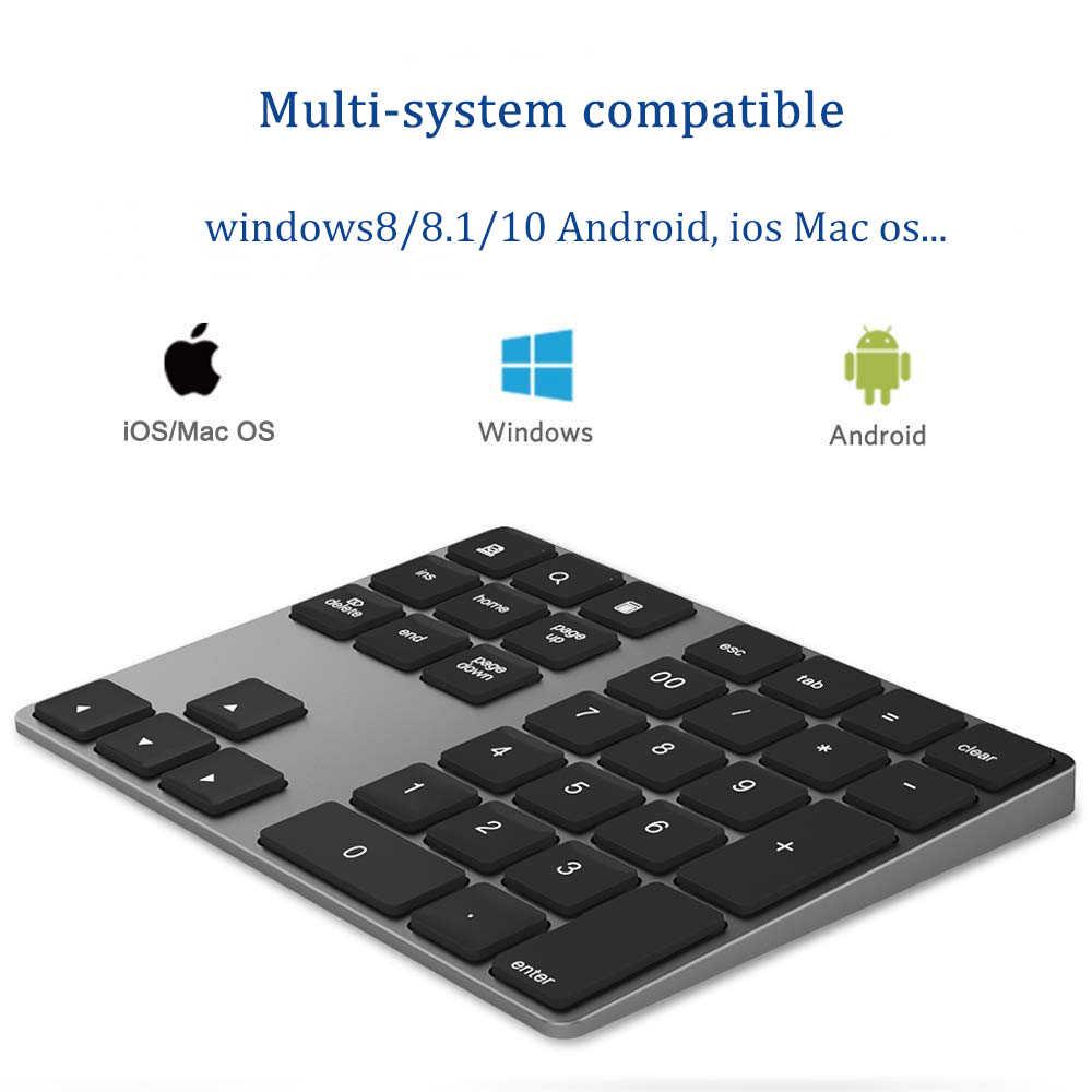 Avatto Ultra Slim Aluminium 34 Tombol Nirkabel Bluetooth Keypad Numerik Keyboard Nomor dengan Scissor-Switch untuk PC Permukaan tablet