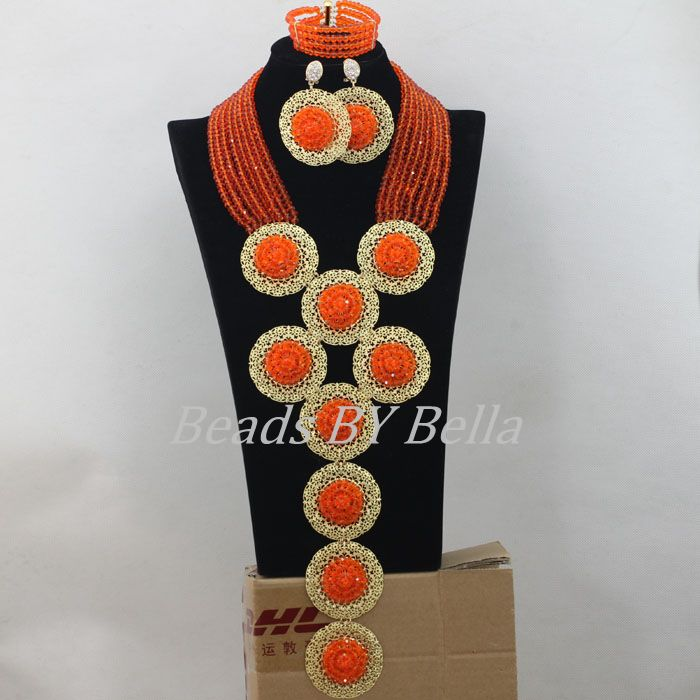African Jewelry Sets Gold Orange Crystal Beads Necklace Nigerian Wedding Beads Bridal Jewelry Sets New Free Shipping ABF445African Jewelry Sets Gold Orange Crystal Beads Necklace Nigerian Wedding Beads Bridal Jewelry Sets New Free Shipping ABF445