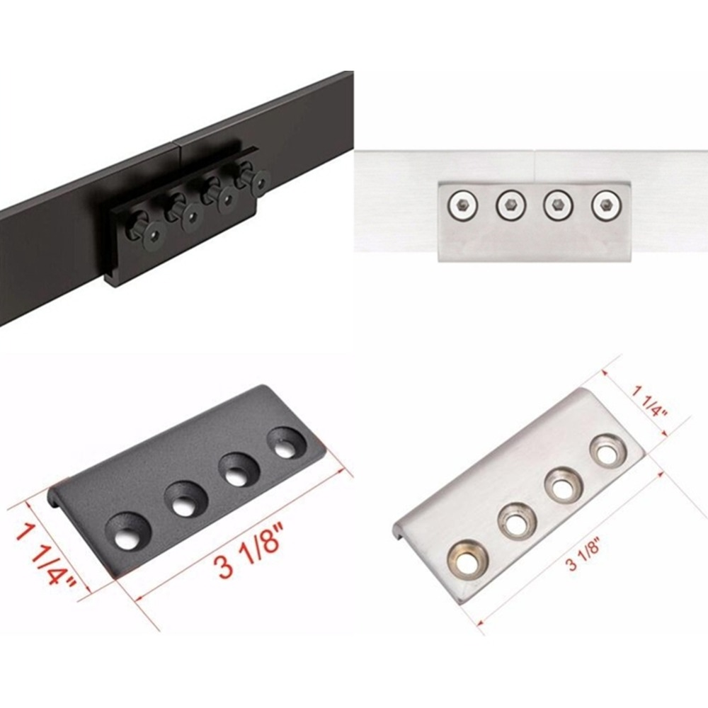 Carbon Steel Black And Stainless Steel Brushed Sliding Barn Door Flat Track Connector