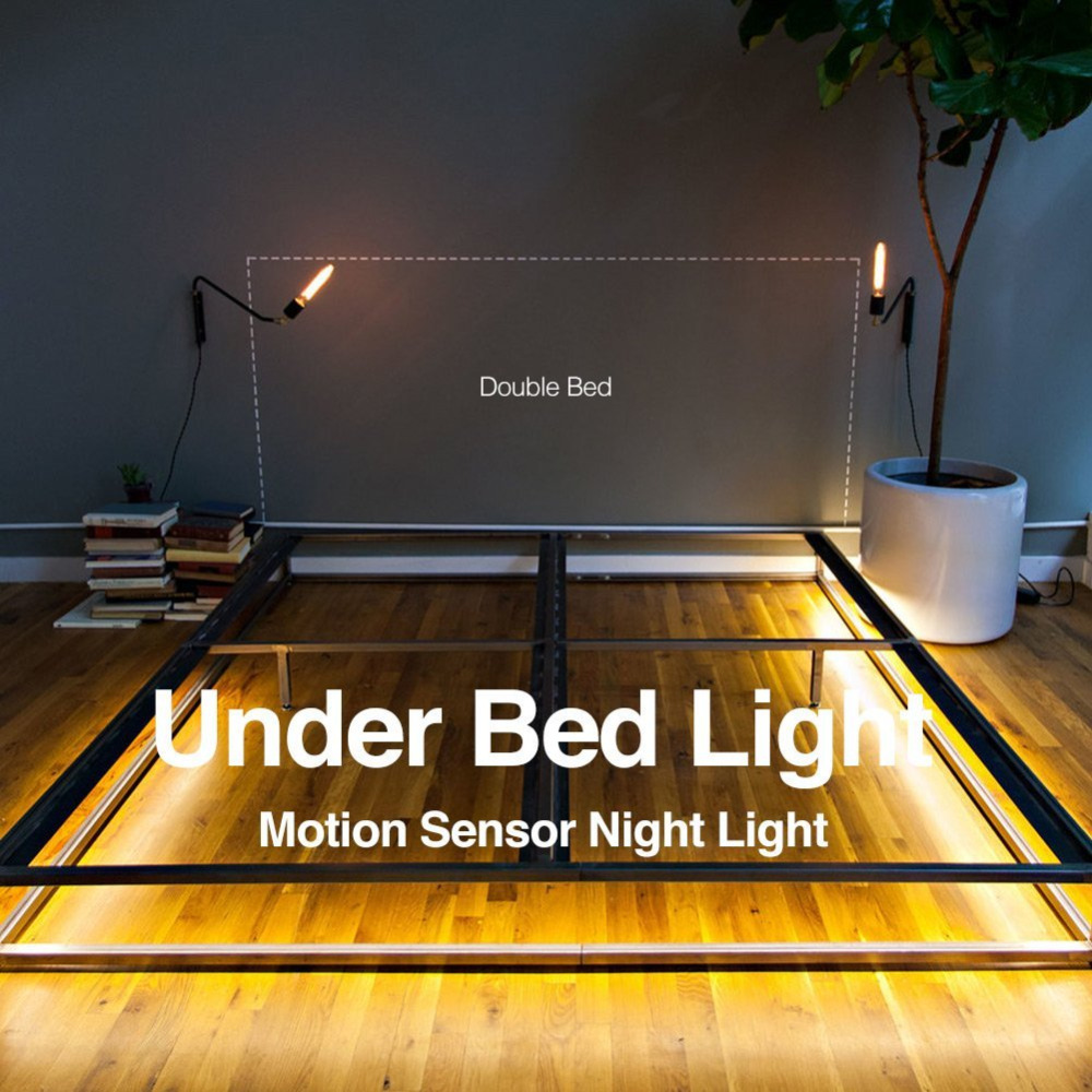 Double Motion Activated Under Bed Light Sensor Led Strip Bedside Night Illumination With Automatic Shut Off In Strips From Lights
