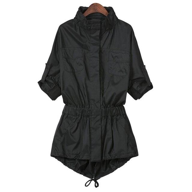 2015 Осень Стиль Дамы Однобортный Длинную Траншею Тонкий Черный Длинный Рукав Pokets женская Пиджаки Пальто Для Женщин Xxxxl
