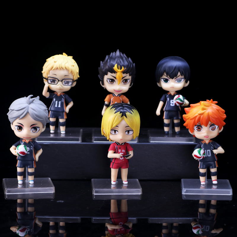 6 pcs set Anime Haikyuu PVC Action figure Model font b Toy b font for collection