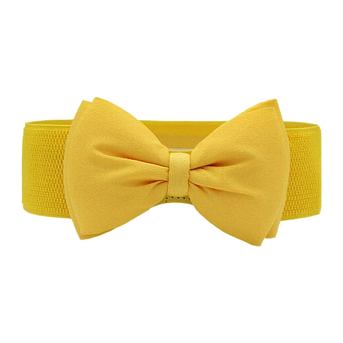 Fashion Women Bowknot Elastic Wide Stretch Buckle Waistband Waist   Belt   Yellow